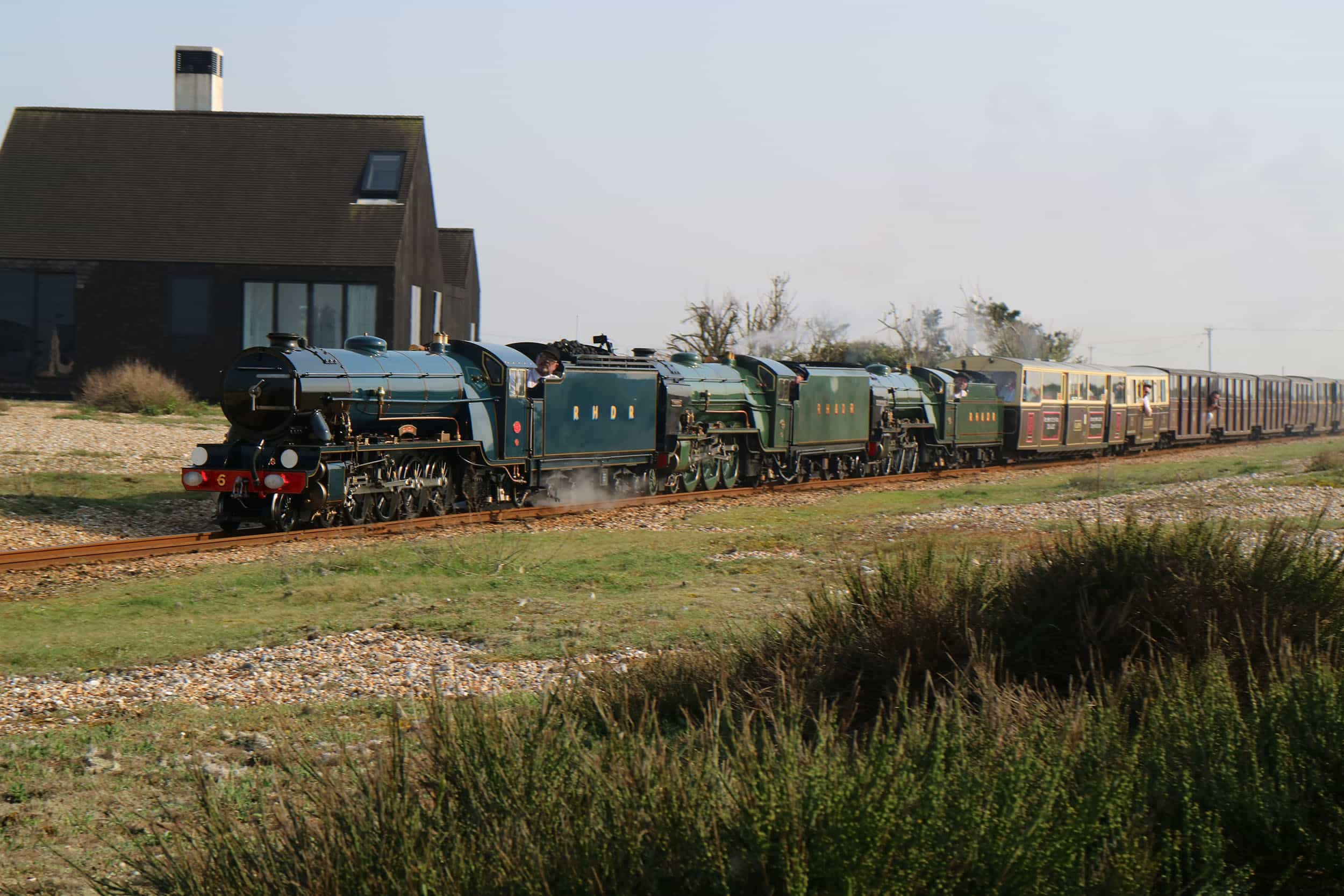 Heritage coaches at Romney, Hythe & Dymchurch Railway